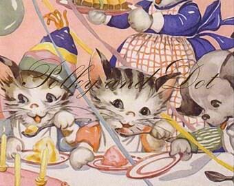 Kitty pink party retro illustration digital image