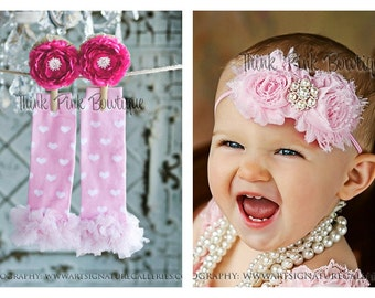 Baby headband and leg warmer SET. Shabby chic headband, pink baby headband and baby leg warmers.