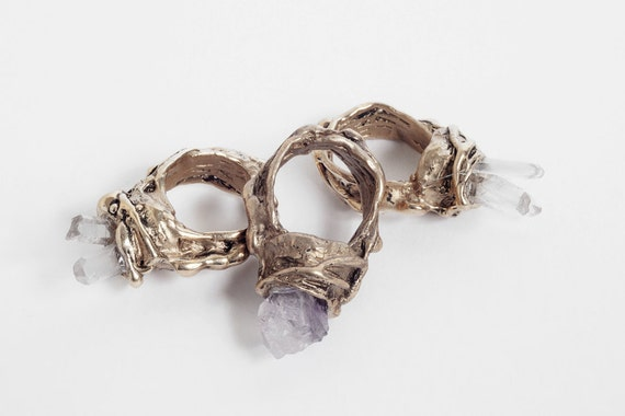 SALE Bronze Mine Ring, Amethyst or Crystal.