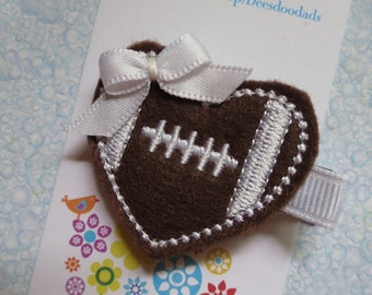 Brown and White Heart Football Hair Clip