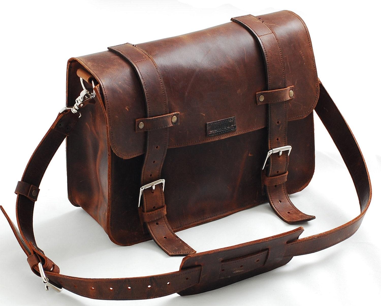 Leather Book Bag Or Messenger Bag For Men Ann Women Ooak
