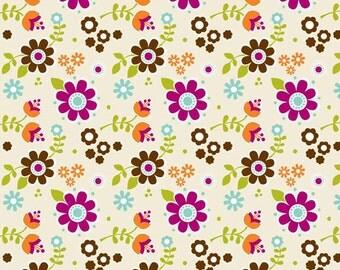 LITTLE MATRYOSHKA Cotton Fabric - Floral in Cream C3311 - Riley Blake - By the Yard