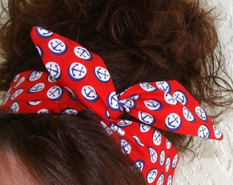 Anchor Dolly Bow Red with Anchors Wire Headband Rockabilly Pin up 50s Hair Accessory for Girls Teens Women