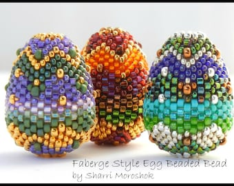 Beading Tutorial - Faberge Style Egg Beaded Bead - peyote stitch instant download