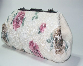 Wedding roses clutch , Purse bag for special occasion, Ivory wedding felted merino wool clutch