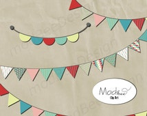Banner Clip Art Set - Digital Scrapbook Clip Art Paper Pieces - Set of 4 Banners - Teal, Sea-foam Green, Berry Red, Soft Pink & Neutral
