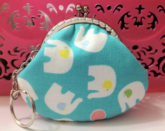 Free Shipping - Small Coin Purse White Elephant in Baby Blue