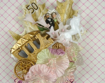 50th Anniversary Corsage Golden Journey Table Decoration Cake Topper Pink