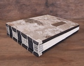 guest book -  custom birch bark wedding wood book - rustic personalized black neutral -made to order