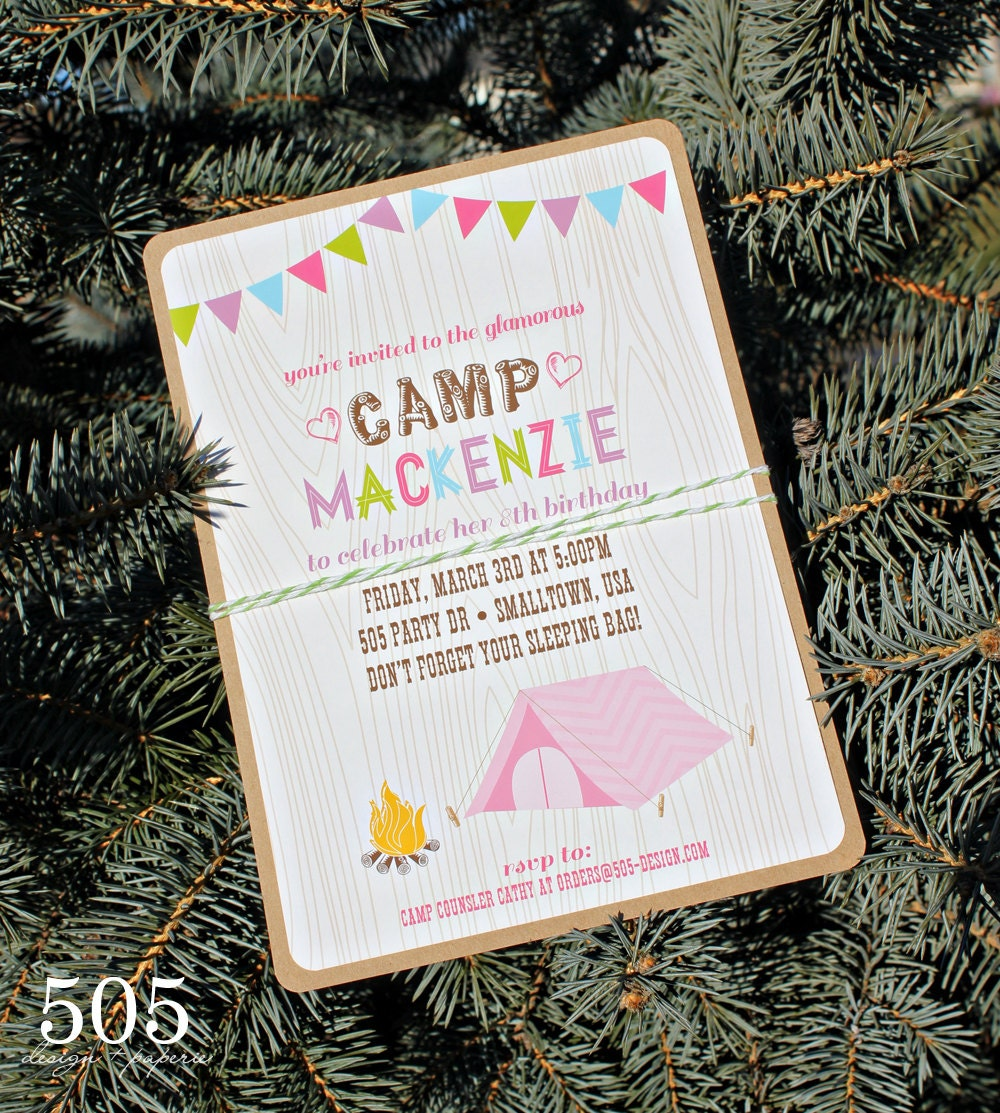 Camping Theme Invitations: Glam Camping Invitation Girls Camping Party By 505design