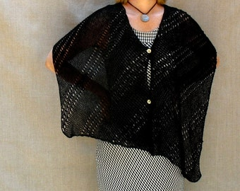 Hand-knit Lacey Linen Shawl Wrap Poncho in Black
