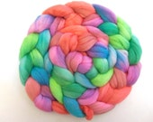 Hand Painted Organic Polwarth/Cultivated Silk 75/25 Roving. 4 Ounces for spinning or felting