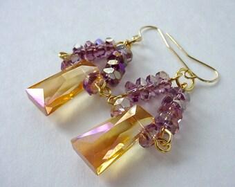 Gold And Purple Crystal Earrings, Dangle Earrings, Drop Earrings, Elegant Statement Earrings