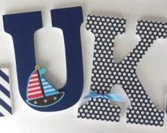 Wooden Letters for Boy Nursery - Sailboat Sailing Theme - Nautical Baby Shower Gift - Custom Name Set