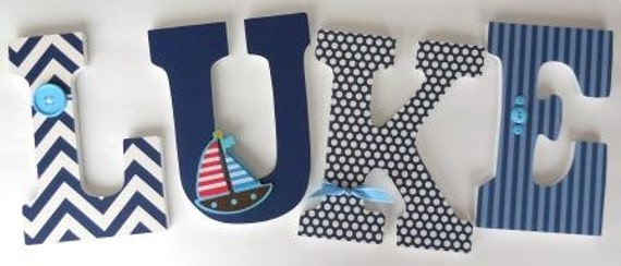 Wooden letters for boy nursery sailboat sailing theme for Baby name letters decoration