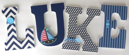Wooden letters for boy nursery sailboat sailing theme for Baby name decoration
