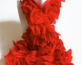 Red Ruffle Scarf Scarlet Knitted Flamenco Can Can Yarn by The Candy Tree