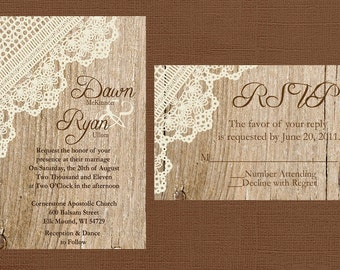 Rustic Wedding Invitation, Lace Wedding Invitation, Vintage Wedding, Western Wedding, Wood Wedding Invitation,
