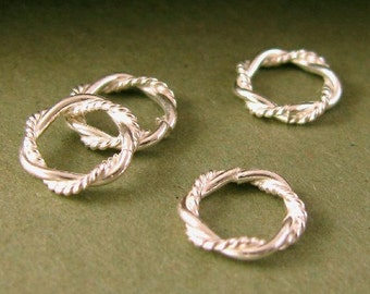 Sterling Silver SHINY Twisted  Jump Rings 10 Pcs - 7.8mm or Large Hole Spacer Beads 5.2mm ID L43