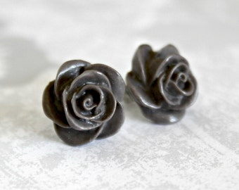 Rose Earrings, Dark Taupe Handmade Resin Cabochons on Hypoallergenic Titanium Posts/Studs