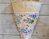 Mosaic Metal Scroll Hanging Wall Vase with Vintage China and Stained Glass- Roses