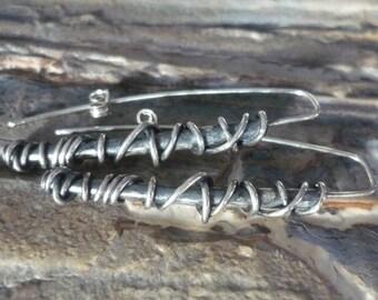 Long Sterling Silver Earrings, Silver Wire Wrapped Earrings, Long Sterling Silver Earrings, Silver Stick Earrings, Statement Earrings K#180