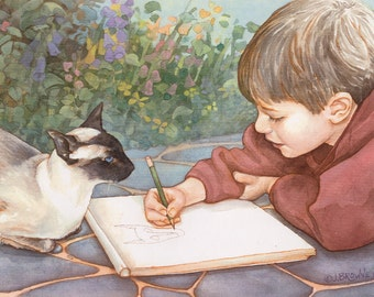 Young Artist Boy and Cat 8.5x11 Signed Print
