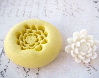 Pond Lily / Lotus Flower - Flexible Silicone Mold - Push Mold, Jewelry Mold, Polymer Clay Mold, Resin Mold, Craft Mold, Food Mold, PMC Mold
