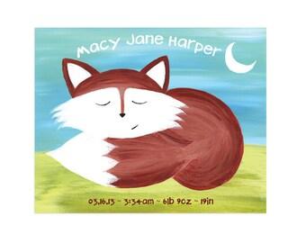 Custom Baby Print - Personalized Nursery Fox Print