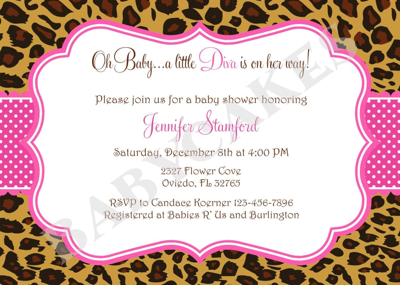 Diva Baby Shower Invitation Invite Cheetah Leopard Animal