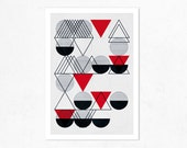 24 Circles.  (red, grey & black). Geometric Illustration print (A4).