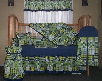 10 Piece John Deere Navy And Green Patchwork Plaid Baby Quilt Set, Nursery Set  5