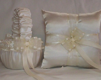 Ivory Cream Satin With Ivory Cream  Ribbon Trim Flower Girl Basket And Ring Bearer Pillow Set 2