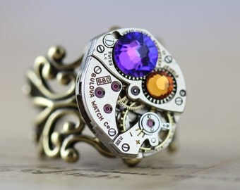 Steampunk Ring  Unique Ring Watch Ring Purple Ring Steam punk Jewelry Heliotrope Topaz Ring Birthstone Ring Steampunk Jewelry Crystal Ring