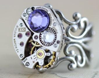 Steampunk Ring Cocktail Ring - Steam Punk Jewelry Purple Tanzanite Crystal Swarovski Crystals  - Handmade by Inspired by Elizabeth