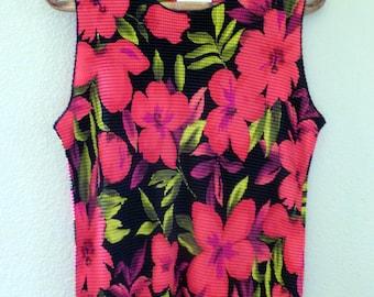 Feminine Flowered top, sleeveless, silky textured material, size XL