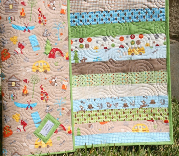 Fox Boy Quilt Handmade Camping Hiking Outdoors Brown Green