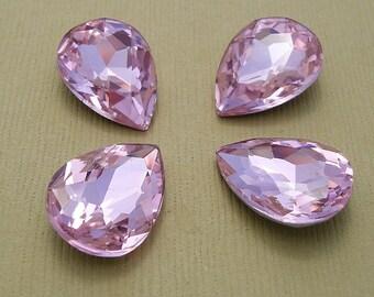 2pcs- Vintage Glass Jewels Pink Pear Teardrop 18x13mm