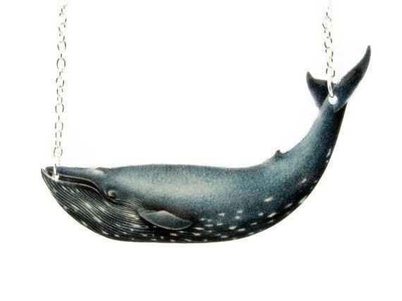 Blue Whale Necklace Nautical Sea life Fish Blue Grey Vintage Illustration