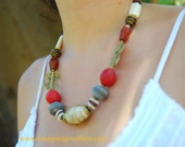 Ethnic copper red Handmade necklace-Tribal inspired African jewelry-African Beaded Necklace