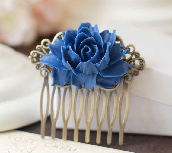 Cobalt Blue Wedding Bridal Flower Hair Comb. Brass Art Nouveau Filigree Hair Comb. Bridal Wedding Headpiece. Bridesmaids Comb