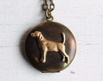 Dog Locket ... Labrador Retriever Vintage Bronze Locket Tarnished with Gold Charm