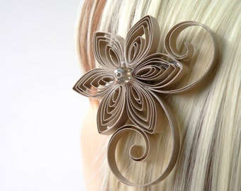 Champagne Wedding Hair Clip, Champagne Wedding Hair Accessory, Light Brown, Sand Wedding