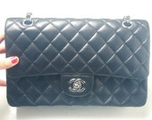 Reserved for Una--1990s Black Quilted lambskin Double Silver Chain Purse/ Shoulder Bag