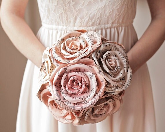 Blush Bridal Bouquet - Pink Sheet Music Paper Roses, Rustic Wedding Flowers with Twine Handle