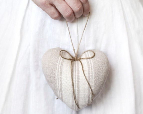 Rustic Heart Ornament  - Ivory Cotton French Country Stripe Plush Heart