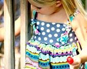 Girls Monogram Knot Dress First Birthday Summer Portrait Dress