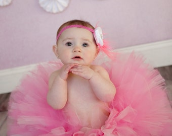 Full Sewn Pretty In Pink Infant Tutu and Headband Set great Photo Prop