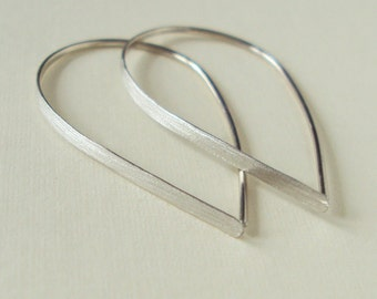 Flat Front Sterling Silver Hoop Earrings, Small Teardrop Hoops