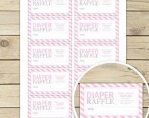Pink Baby Shower Diaper Raffle Tickets - Instant Download - Pink Baby Shower Diaper Raffle Cards - Pink Baby Shower Invitation Inserts